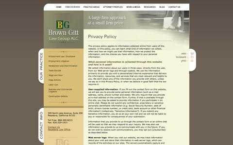 Screenshot of Privacy Page browngitt.com - Privacy Policy | Brown Gitt Law Group, ALC | - captured Oct. 5, 2014