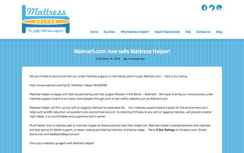 Screenshot of Blog mattresshelper.com - Blog | Mattress Support Board | Sagging Mattress | The only comfortable solution to sagging mattresses. - captured Oct. 27, 2014