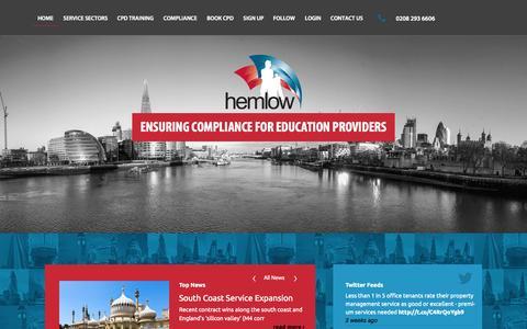 Screenshot of Home Page hemlow.com - Hemlow   Technical Commercial Services - captured Sept. 19, 2015