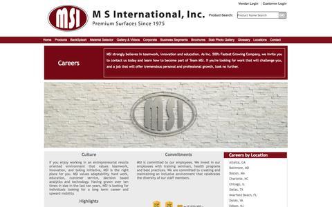 Screenshot of Jobs Page msistone.com - Careers | M S International, Inc. | Premium Surfaces - captured Sept. 19, 2014
