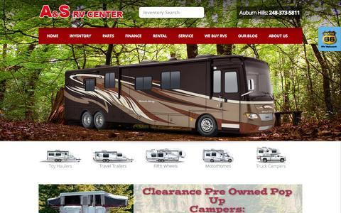 Screenshot of Home Page asrvcenter.com - Auburn Hills, Michigan RV Dealer | A & S RV Center - captured Sept. 30, 2014