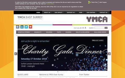 Screenshot of Home Page ymcaeastsurrey.org.uk - YMCA East Surrey - captured Oct. 21, 2018