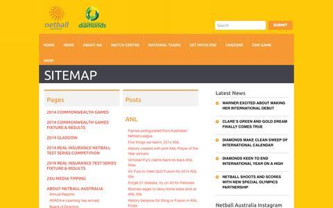 Screenshot of Site Map Page netball.com.au - Sitemap - Netball AustraliaNetball Australia - captured Oct. 26, 2014
