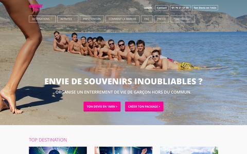 Screenshot of Home Page crazy-evg.com - Enterrement de vie de gar�on: partez avec Crazy-evG ! - captured Jan. 14, 2016