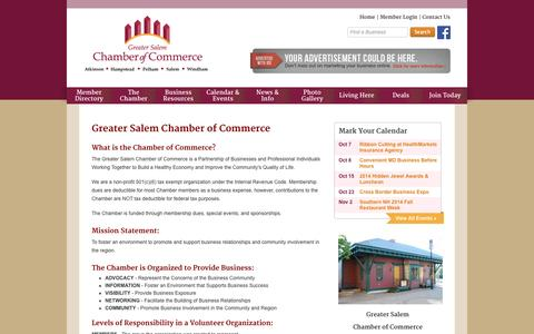 Screenshot of About Page gschamber.com - Greater Salem Chamber of Commerce - About the Chamber - captured Oct. 3, 2014