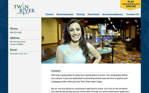 Screenshot of Jobs Page twinriver.com - Careers - Twin River Casino Hotel - captured May 31, 2019