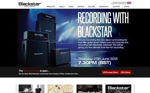 Screenshot of Home Page blackstaramps.com - Guitar Amplifiers, Valve Guitar Amps, Guitar Pedals, from Blackstar Amplification - captured June 23, 2015