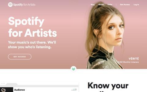 Screenshot of spotify.com - Spotify for Artists - captured April 19, 2017