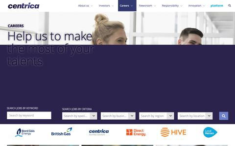 Screenshot of Jobs Page centrica.com - Careers at Centrica | Centrica plc - captured May 23, 2019
