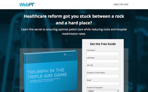 Screenshot of Landing Page webpt.com - WebPT | Triumph in the Triple-Aim Game - captured Oct. 30, 2016