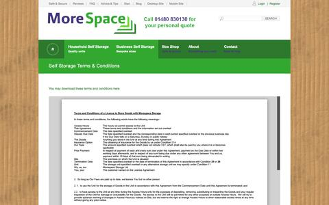 Screenshot of Terms Page morespacestorage.co.uk - Household storage terms & conditions at Morespace, Cambridgeshire - captured Jan. 13, 2016