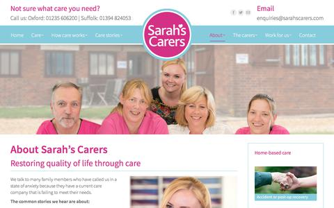 Screenshot of About Page sarahscarers.com - Care Services in Oxford - Sarah's Carers Domestic Care Services - captured July 26, 2018