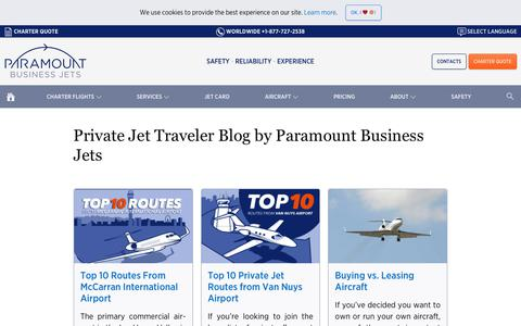 Screenshot of Blog paramountbusinessjets.com - A Blog on Private Jet Travel and Business Aviation - captured July 15, 2018
