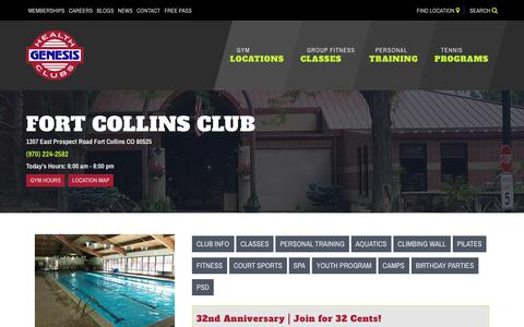 Screenshot of Hours Page genesishealthclubs.com - Club Hours - Fort Collins - captured Sept. 22, 2018