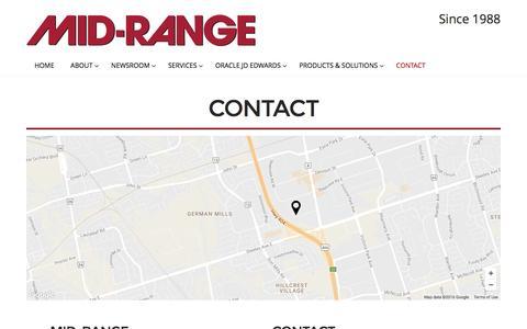 Screenshot of Contact Page midrange.ca - Contact | Mid-Range - captured Nov. 28, 2016