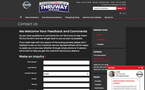 Screenshot of Contact Page thruwaynissan.com - Thruway Nissan | New Nissan dealership in Newburgh, NY 12550 - captured Feb. 17, 2018