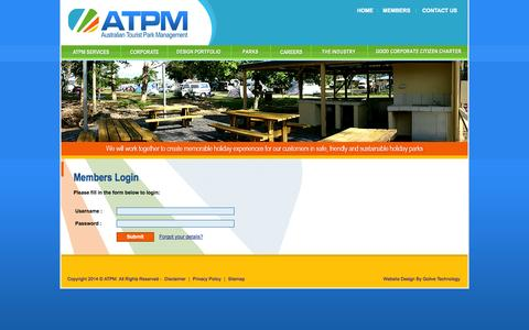 Screenshot of Login Page atpm.com.au - Caravan Park Management, Marketing and Development in Australia. Services include Tourist Park and Relief Caravan Park Management - captured Oct. 4, 2014