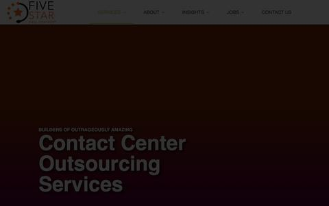Screenshot of Services Page fivestarcallcenters.com - Contact Center Outsourcing Services | Five Star Call Centers - captured Feb. 19, 2020