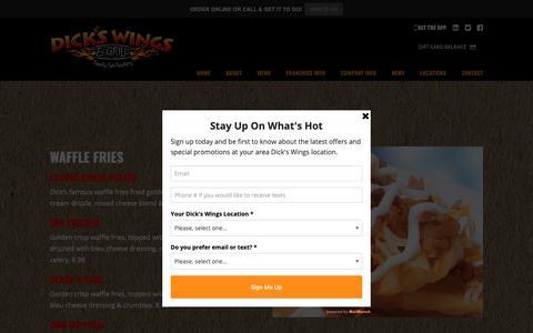 Screenshot of Menu Page dickswingsandgrill.com - Menu – Dicks Wings and Grill - captured Oct. 19, 2018