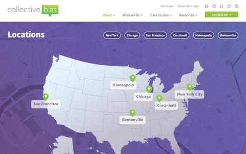 Screenshot of Locations Page collectivebias.com - Locations - Collective Bias - captured May 10, 2016