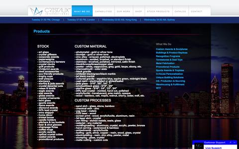 Screenshot of Products Page cristaux.com - Cristaux International - A Small Selection of Our Custom Manufacturing Capabilties - captured Sept. 23, 2014