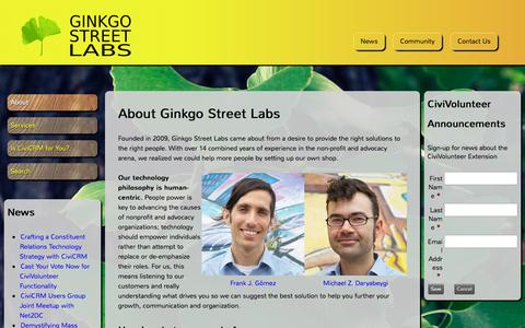 Screenshot of Home Page ginkgostreet.com - About Ginkgo Street Labs | Ginkgo Street Labs - captured Oct. 2, 2014