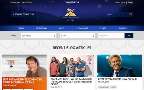 Screenshot of Blog spiritmountain.com - Blog   Grand Ronde, Oregon   Spirit Mountain Casino   Spirit Mountain Casino - captured June 3, 2018