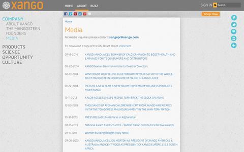 Screenshot of Press Page xango.com - Media | XANGO - captured Sept. 11, 2014