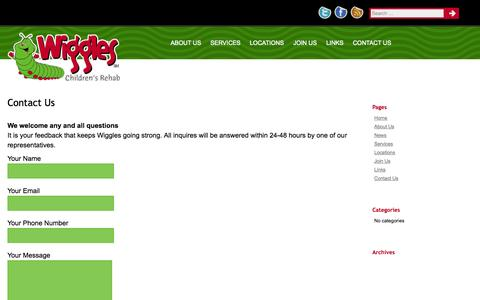 Screenshot of Contact Page wigglesrehab.com - Wiggles Children's Rehab | Contact Us - captured Oct. 7, 2014
