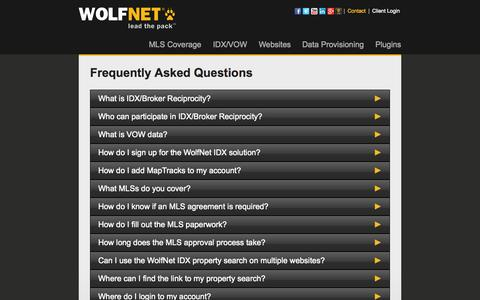 Screenshot of FAQ Page wolfnet.com - FAQ - WolfNet.com - captured Sept. 18, 2014