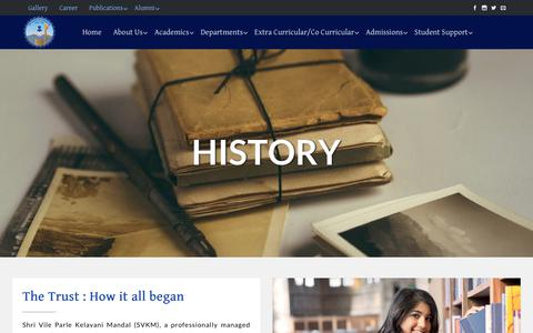 Screenshot of About Page nmcollege.in - History – NM College - captured Nov. 4, 2018