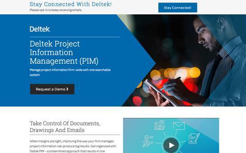 Screenshot of Landing Page deltek.com - Deltek Project Information Management (PIM) – Manage project information firm-wide - captured April 19, 2019