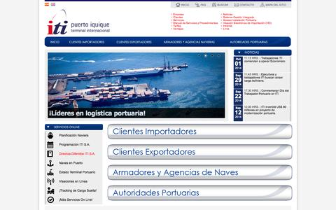 Screenshot of Home Page iti.cl - Puerto Iquique Terminal Internacional S.A. - captured Oct. 6, 2014