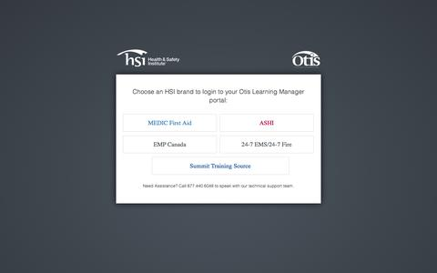 Screenshot of Login Page hsi.com - Choose Your Otis Portal - captured Jan. 23, 2016
