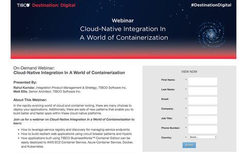 Screenshot of Landing Page tibco.com - Cloud-Native Integration In A World of Containerization - captured Oct. 14, 2016