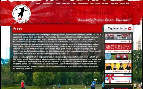 Screenshot of Press Page gokickball.com - GO Kickball -  Press - captured Aug. 23, 2016