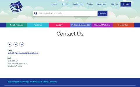 Screenshot of Contact Page global-help.org - Contact Us - Global HELP - captured Sept. 28, 2018