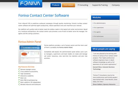 Screenshot of Products Page foniva.com - Foniva Contact Center Software - captured Sept. 30, 2014