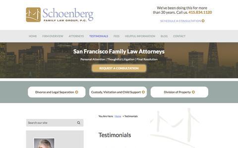 Screenshot of Testimonials Page sflg.com - Testimonials | Schoenberg Family Law Group, P.C. | San Francisco, California - captured Feb. 4, 2016