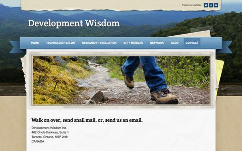 Screenshot of Contact Page weebly.com - Contact - Development Wisdom - captured Sept. 17, 2014