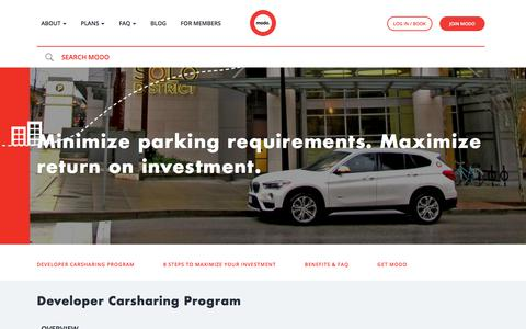 Screenshot of Developers Page modo.coop - Developer Carsharing Program | Modo - captured Sept. 22, 2018