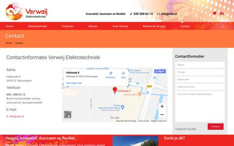 Screenshot of Contact Page veu.nl - Contact - Verweij Elektrotechniek - captured Oct. 19, 2018