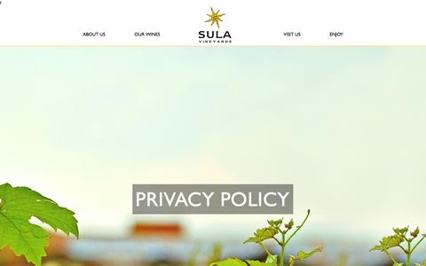 Screenshot of Privacy Page sulawines.com - The Sula Story - Sula Vineyards Pvt. Ltd. - Taste The SULA Life - captured Nov. 17, 2016