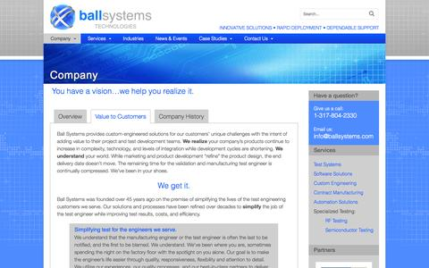 Screenshot of About Page ballsystems.com - Company - Automated Testing, Quality Assurance with Ball Systems - captured Sept. 30, 2014