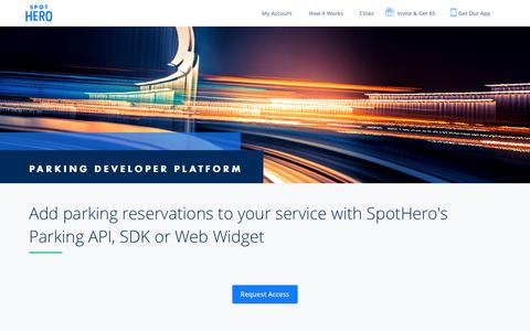 Screenshot of Developers Page spothero.com - Parking Developer Platform: API, SDK & Widget | SpotHero - captured Feb. 26, 2017