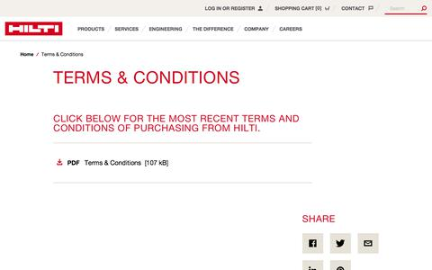 Screenshot of Terms Page hilti.co.uk - Terms & Conditions - Hilti Great Britain - captured June 22, 2017