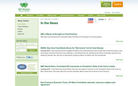 Screenshot of Press Page sfmfoodbank.org - In the News | SF-Marin Food Bank - captured Oct. 3, 2014