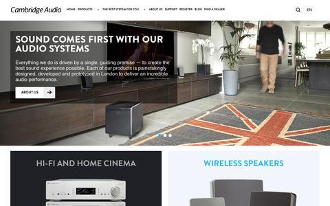 Screenshot of Home Page cambridgeaudio.com - High Quality Home Audio   Cambridge Audio - captured Sept. 19, 2014