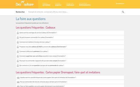 Screenshot of FAQ Page dromadaire.com - Dromadaire - faq - captured Sept. 28, 2018