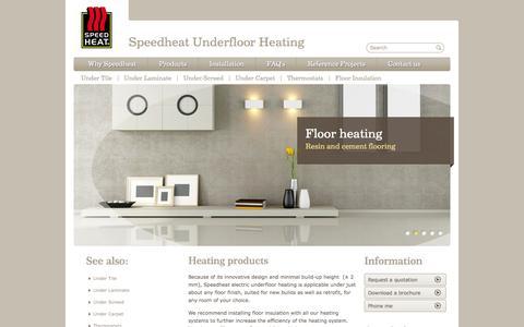 Screenshot of Products Page speedheat.co.za - Heating products | Speedheat underfloor heating - captured Nov. 4, 2014